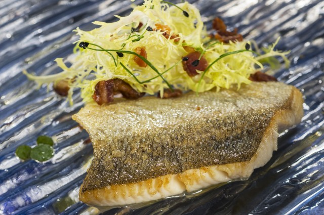 Seared Trout with Frisee, Bacon and Maple Minus 8 Vinaigrette