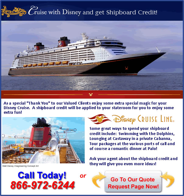 Disney Cruise Line Shipboard Credit Offer from Kingdom Magic Vacations