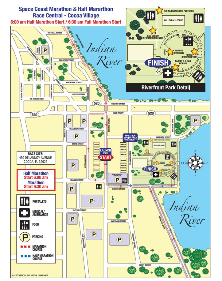 Space Coast Marathon and Half Marathon Course