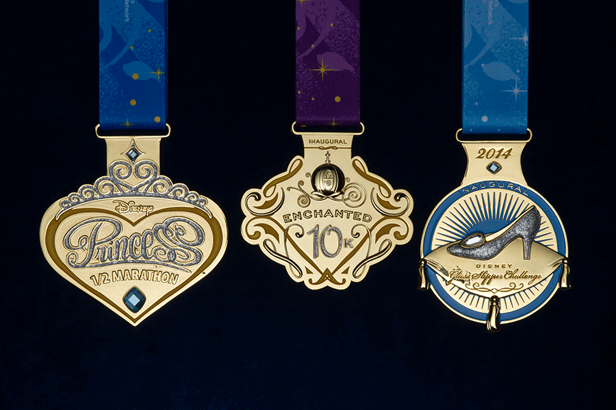 Medals from the 2013 Princess Half Marathon Weekend.