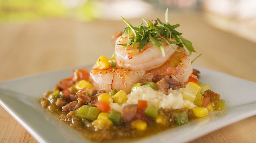 The new Florida Fresh garden marketplace at Epcot International Flower & Garden Festival (March 6-May 19) features Shrimp and Stone Ground Grits with Andouille Sausage, fresh Zellwood Corn, Tomatoes and Cilantro. It's the festival's first year to feature garden- and backyard-living-inspired food and beverage items at a dozen marketplace locations around the World Showcase promenade. Epcot is located at Walt Disney World Resort in Lake Buena Vista, Fla. (Matt Stroshane, photographer)