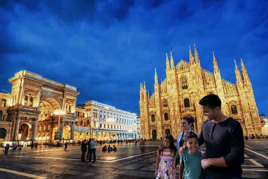 Duomo di Milano and Galleria Vittorio Emanuele at Night, Italy