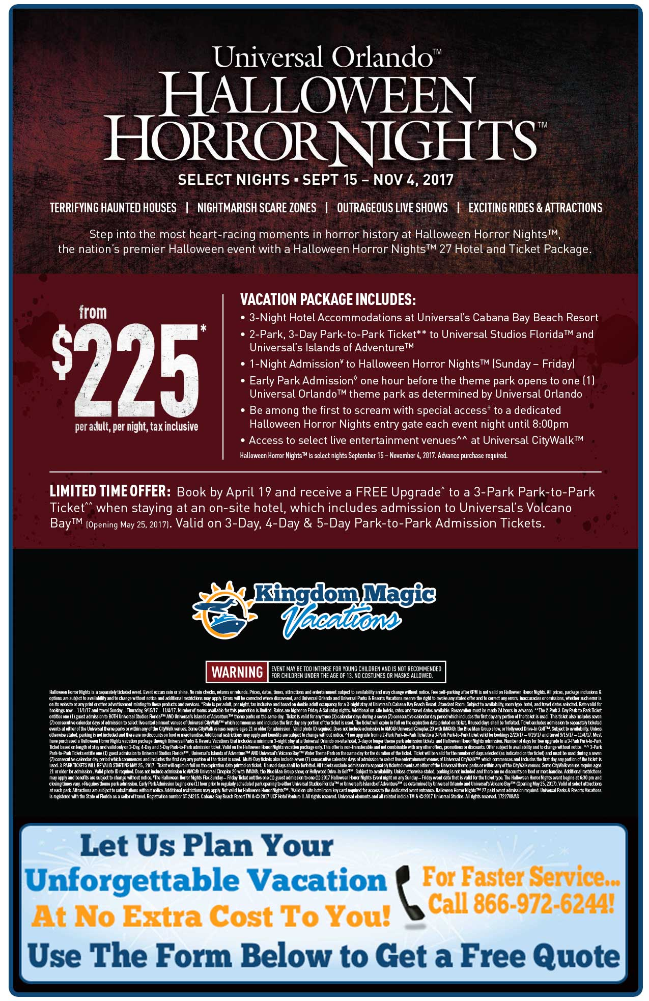Halloween Horror Nights Vacation Packages